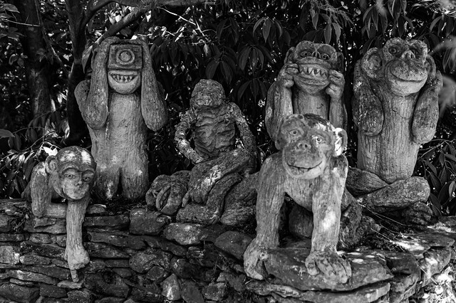 Black and white of the monkey carvings and stones feature in the garden