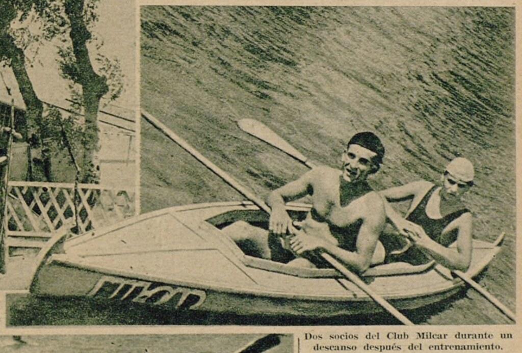 Miembros del Club Milcar en una piragua en las aguas del Tajo. Semanario gráfico As, 15 de julio de 1935.