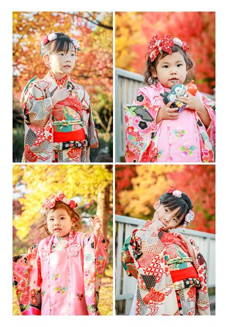 姉妹で七五三 公園で後撮り 色づく紅葉を背景に