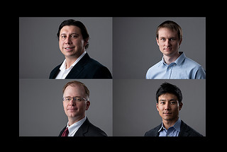 Clockwise from top left: Juan Leal, Eric Davis, Tony Shin, and Neil Loychik, winners of the DisrupTECH awards for innovative technologies.