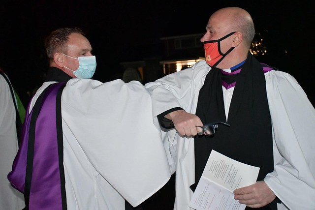 An elbow bump outside the church in Limavady between the Rev Rhys Jones (left), and his former Rector, and last night's preacher, the Rev David McBeth.