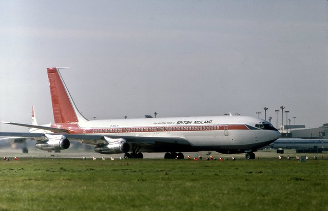 G-BFLD BMA Boeing 707-338C in LAM colours operating a Zambia Airways flight! at London Heathrow