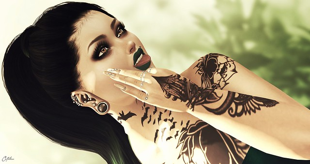 ...::: DEATH INK :::... Liz tattoo// ::: Mute ::: Pose + Outfit Bente