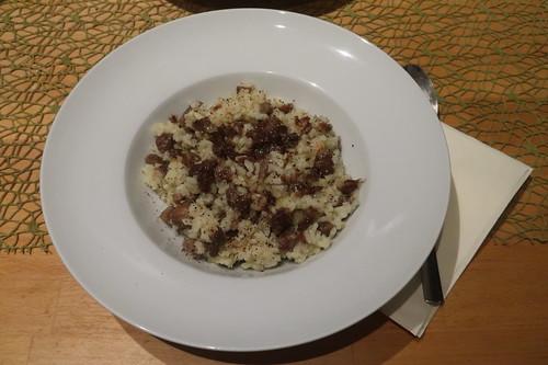 Sizilianisches Reisgericht mit Maronen und Sardellen (meine Portion)