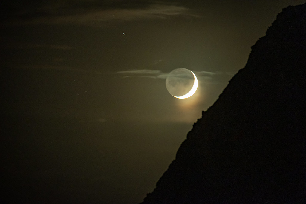 The Crescent Moon over Arch Cape, Oregon