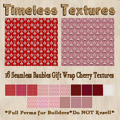TT 16 Seamless Baubles Gift Wrap Cherry Timeless Textures