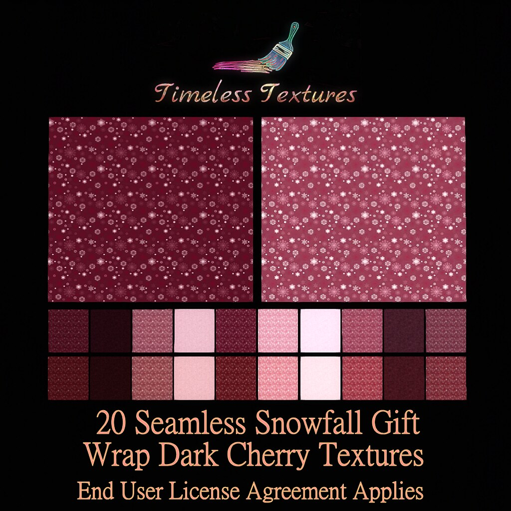 TT 20 Seamless Snowfall Gift Wrap Dark Cherry Timeless Textures