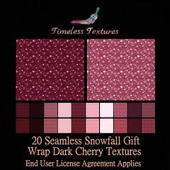 TT 20 Seamless Snowfall Gift Wrap Dark Cherry Timeless Textures