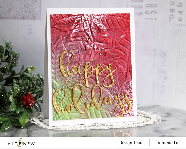 11282020-Perfect Poinsettias 3D Embossing Folder -Complete Ink Spray Bundle -Happy Holiday Die-Happy Holidays Script Die Set -001