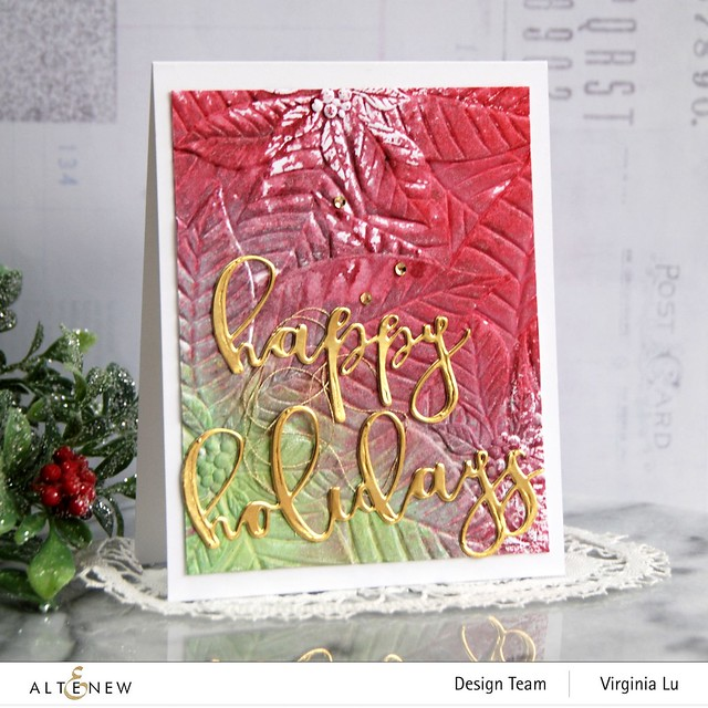 11282020-Perfect Poinsettias 3D Embossing Folder -Complete Ink Spray Bundle -Happy Holiday Die-Happy Holidays Script Die Set