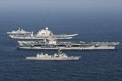 NORTH ARABIAN SEA (Nov. 17, 2020) Ships from the Royal Australian Navy, Indian Navy, Japanese Maritime Self-Defense Force, and U.S. Navy sail in formation during Malabar 2020. Malabar 2020 is the latest in a continuing series of exercises that has grown in scope and complexity over the years to address the variety of shared threats to maritime security in the Indo-Pacific where the U.S. Navy has patrolled for more than 70 years promoting regional peace and security. Nimitz Carrier Strike Group is currently deployed to the 7th Fleet area of operations in support of a free and open Indo-Pacific. (U.S. Navy photo by Mass Communication Specialist 3rd Class Keenan Daniels/Released)