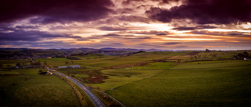 hawick borders scotland scottish town field farm farming agriculture agricultural rural road a7 main buildings sunset afternoon evening uk britain british drone aerial air photography landscape panorama panoramic dji uav sua mavic 324