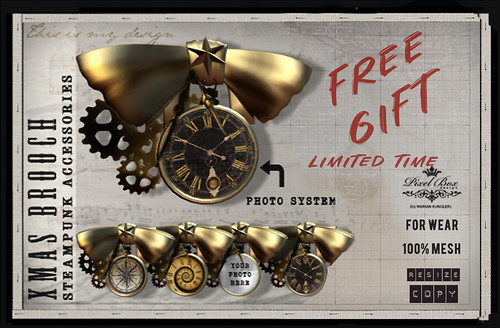 PIXEL BOX FREE GIFT Steampunk Brooch