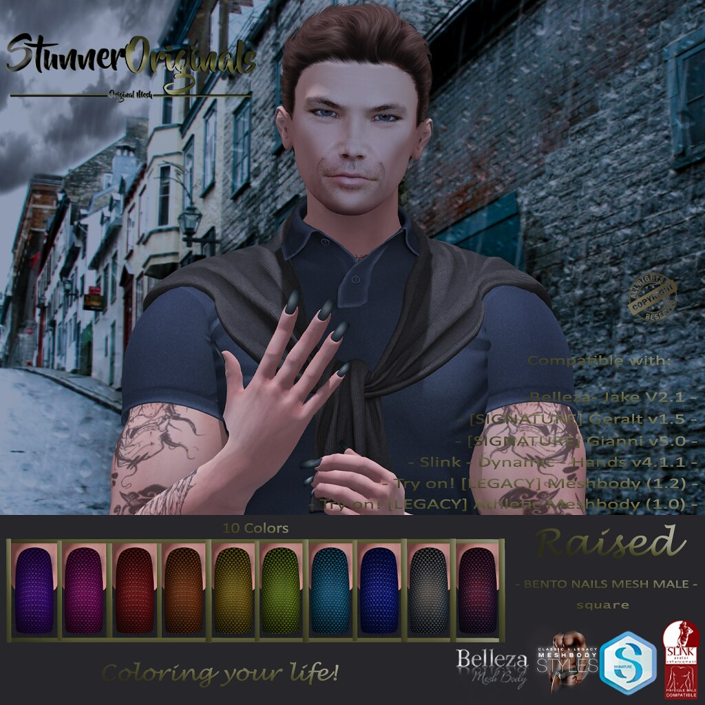 .:: SO ::. Bento Nails Mesh Male Square Raised