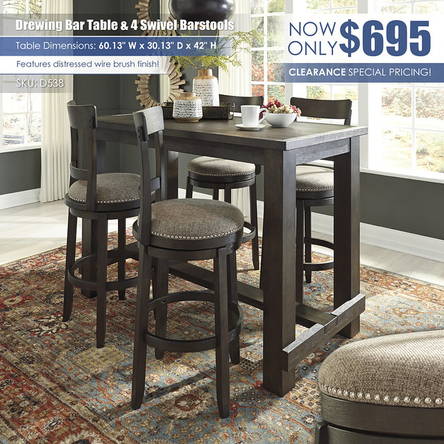 Drewing Bar Table & 4 Swivel Barstools_D538-MOOD-B