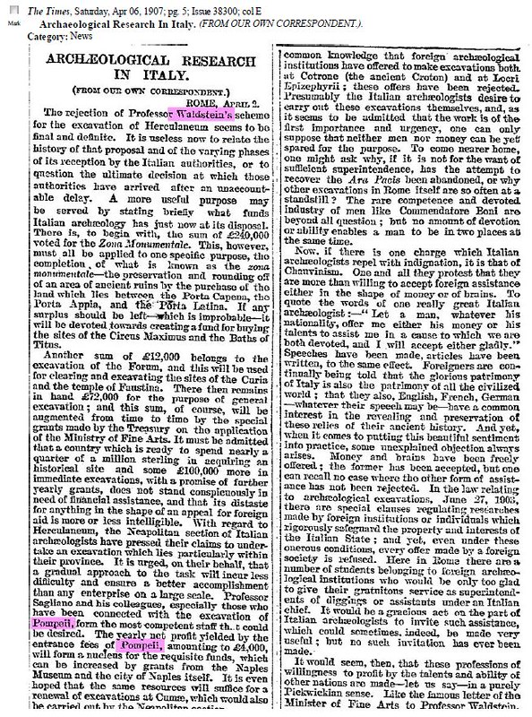 "ROMA ARCHEOLOGIA E RESTAURO ARCHITETTURA 2020: Prof. Thomas Ashby, Jr; ""Archaeological Research in Italy;"" in: The Times London (06 April 1907) & 26 December 1912): 7. S.v., The Sphere, London (21 Sept. 1907) & Romolo Artioli (1908)."