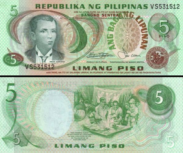 5 Piso Filipíny 1978, P160b