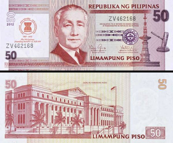 50 Piso Filipíny 2012 P211A prítlač ASEAN