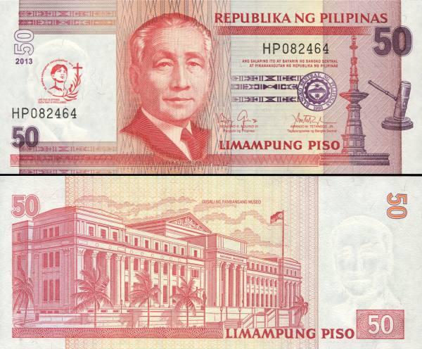 50 Piso Filipíny 2013 P193 prítlač kanonizácia