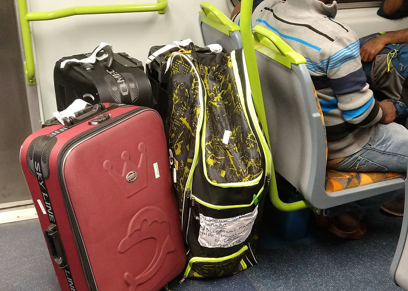 Suitcases on a train