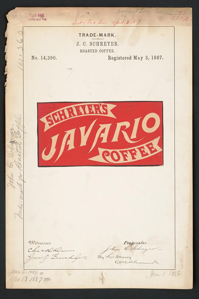 [Trademark registration by J. C. Schreyer for Schreyer's Javario Coffee brand Roasted Coffee] (LOC)