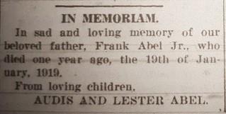 2020-11-20. 1920-01-22 News, In Memoriam