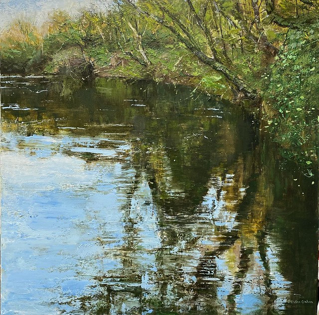 Afon Teifi - Oil on canvas 76 x 76 cm - available