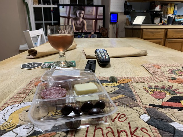 2020 324/366 11/19/2020 THURSDAY - Wegmans Food You Feel Good About Sopressata Dolce Salami with Provolone Cheese & Dark Chocolate Covered Almonds while watching Raised By Wolves and Drinking Home Brewed Blueberry Mead