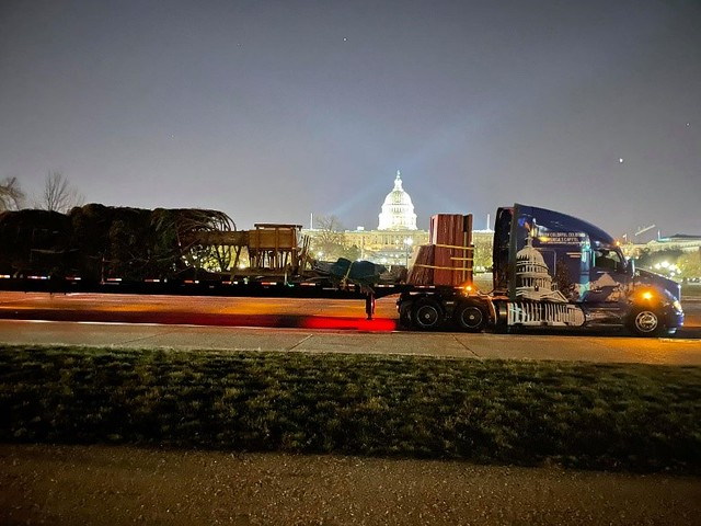 The U.S. Capitol Christmas Tree arrives in the early morning hours in D.C.