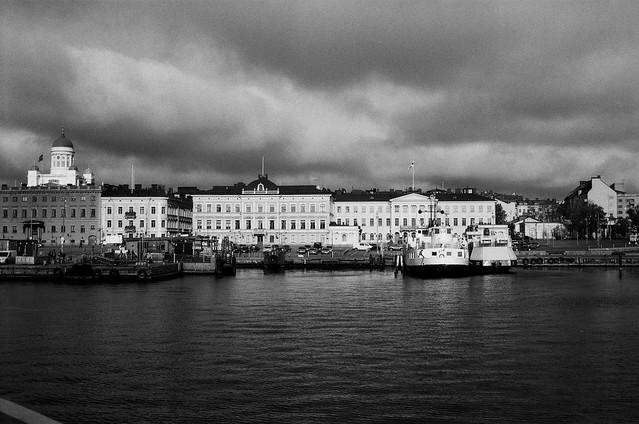 Two soumenlinna ferries docked in the harbor,