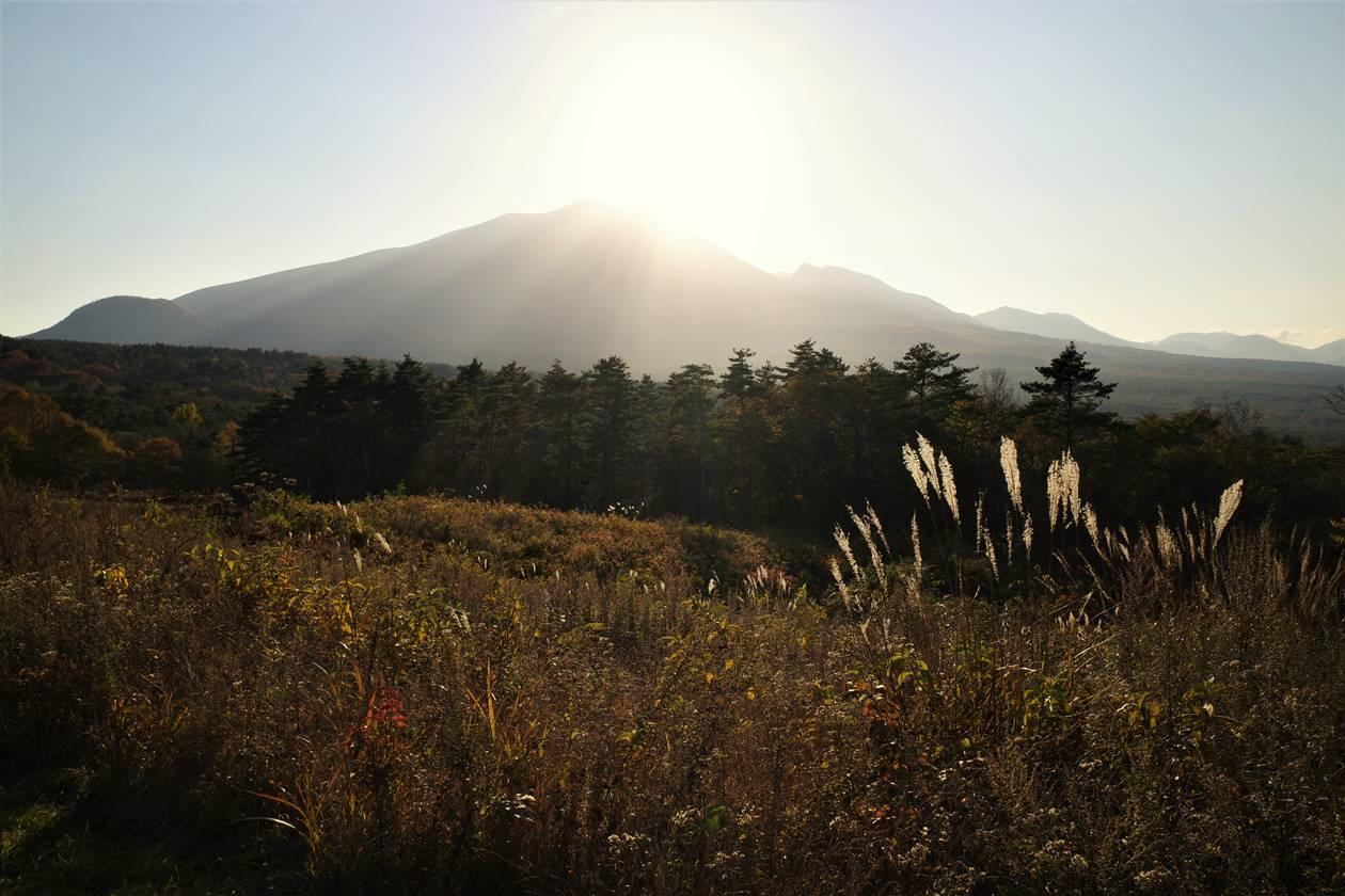 浅間牧場・展望台から眺める浅間山と夕日