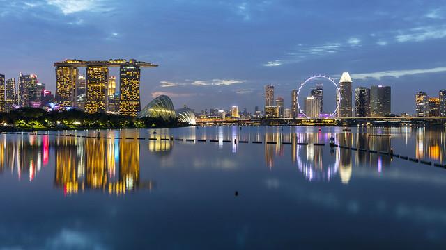 Blue Hour Reflections of Marina Bay Singapore
