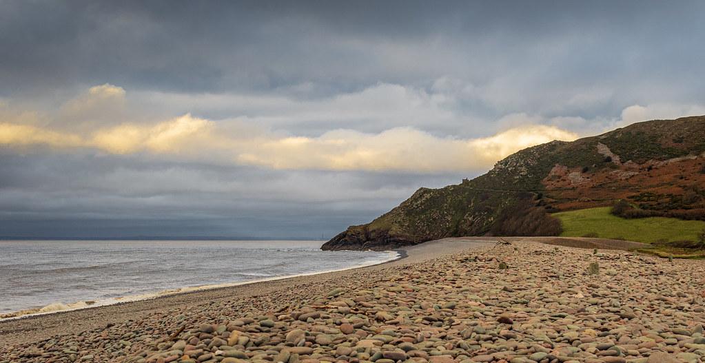 Bossington Beach, looking at Hurlstone Point.
