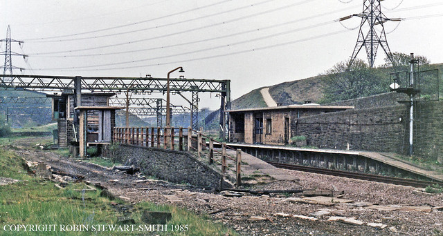 LNER Dunford Bridge Station and Signal Box on 18th May 1985