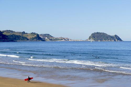 Tiempo de hoy a la mañana en la playa de Zarautz 21-11-2020