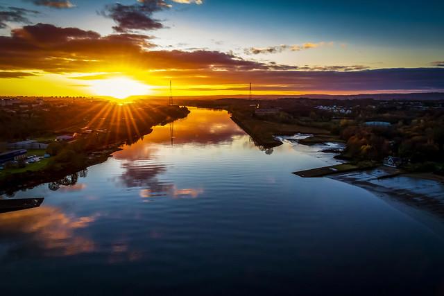 Sunstar, River Cylde from Erskine Bridge, Scotland ,UK
