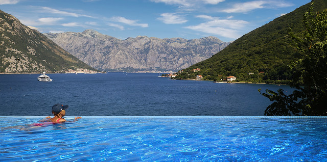 A little Awe-inspiring pool offers a magnificent view on Bay of Kotor