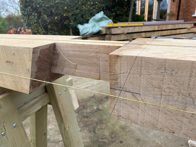 Marking out the scarf joint mortice - side