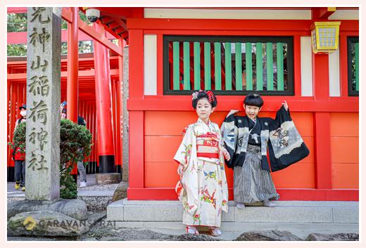 三光稲荷神社で七五三 兄弟そろって 愛知県犬山市