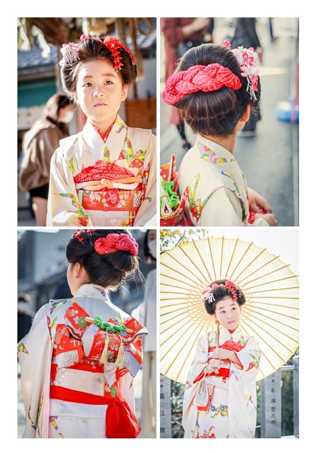 7歳の七五三 日本髪 和傘 白い着物に赤い帯