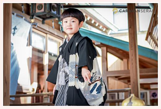 5才の七五三 黒の羽織袴