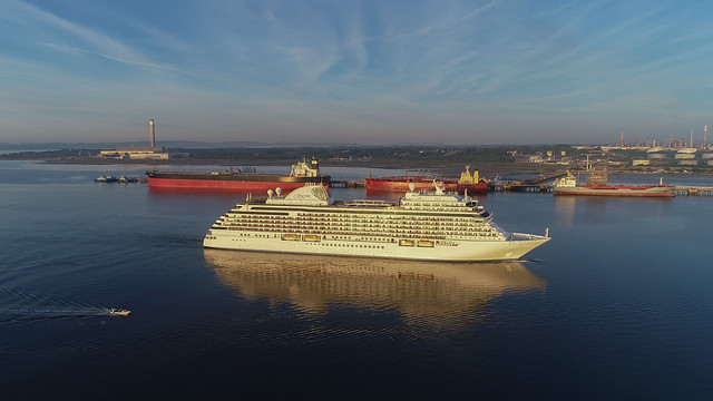 Seven Seas Explorer early morning arrival in Southampton UK