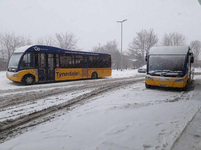 Go North East Tynedale Optare Solo's 668 and 671 seen in the snow at Hexham Bus Station on the 28/02/2018 during the Beast from the East