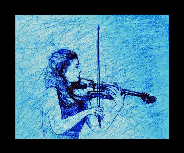 Experimental Art. The Violinist. Mixed media line drawing by jmsw. Just for Fun.