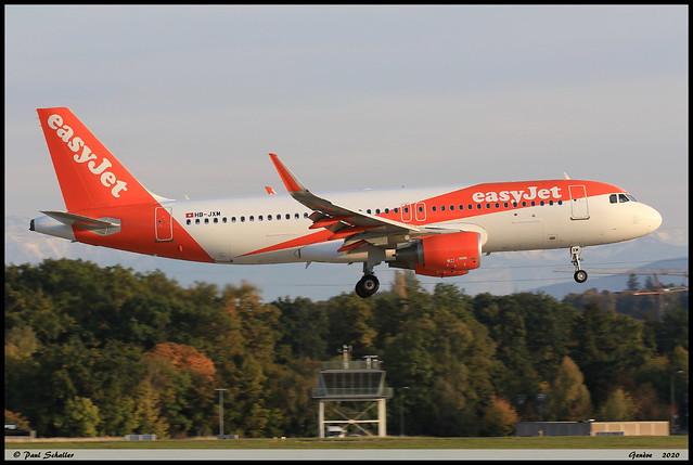 AIRBUS A320 214 easyJet HB-JXM 8299 Genève octobre 2020