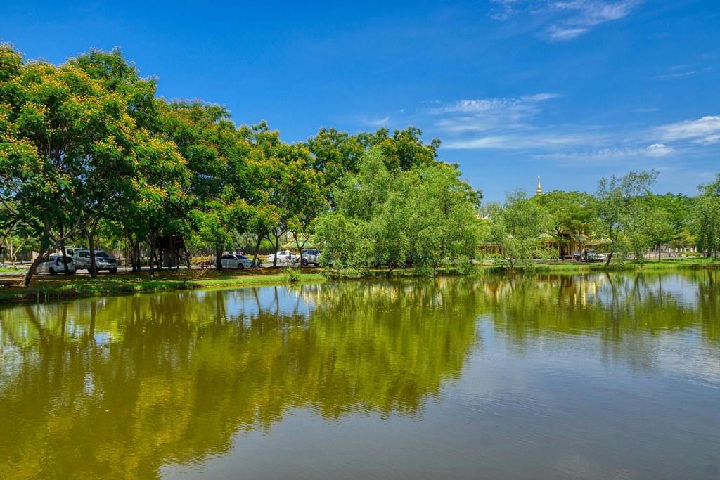 Lake and trees in Muang Boran (Ancient City) open air museum in Samut Phrakan near Bangkok, Thailand