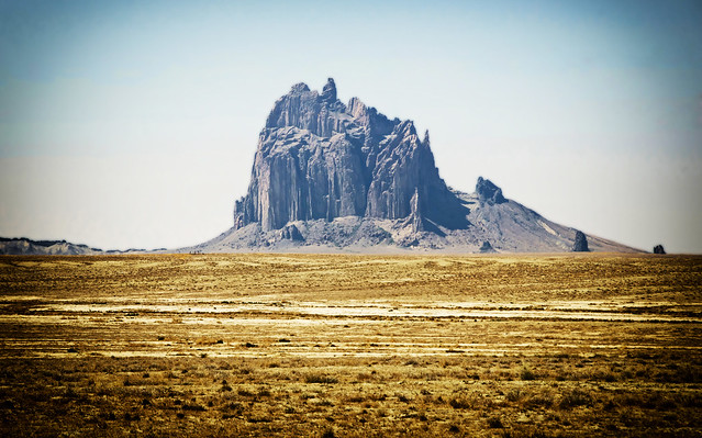 Shiprock Peak in the desert of New Mexico USA