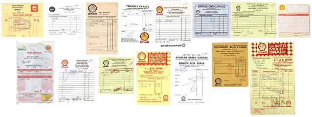 Shell petrol receipts, 1964–2000