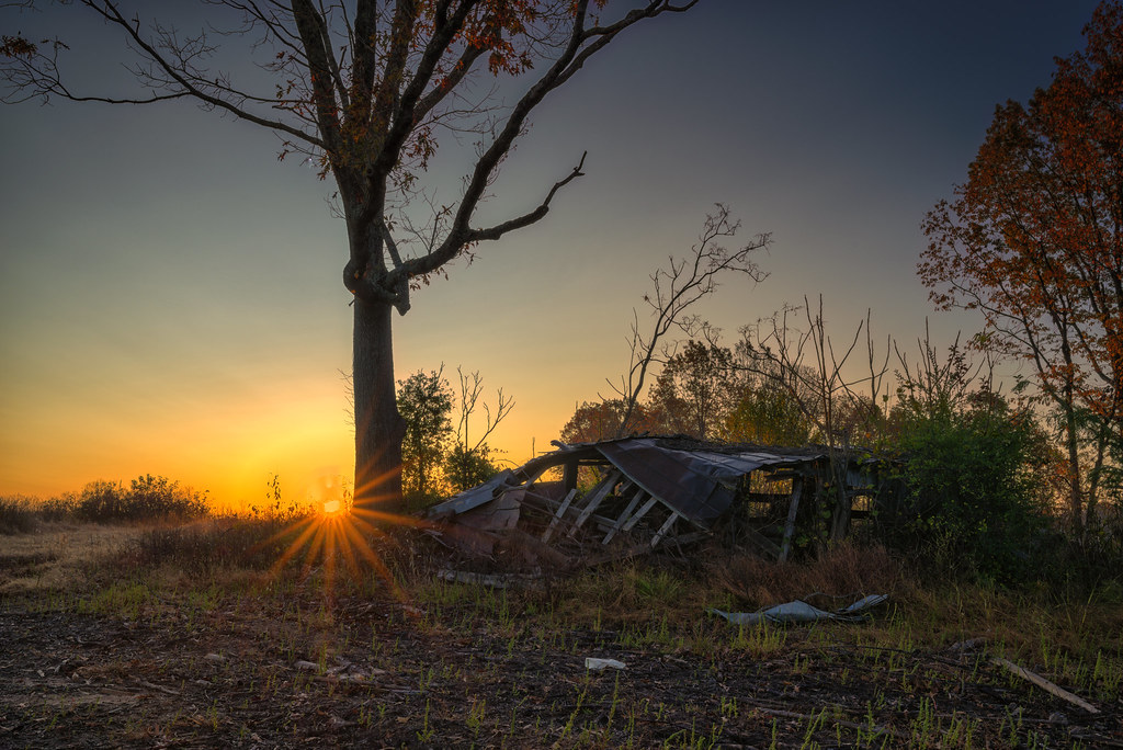 Fallen Barn at Dawn