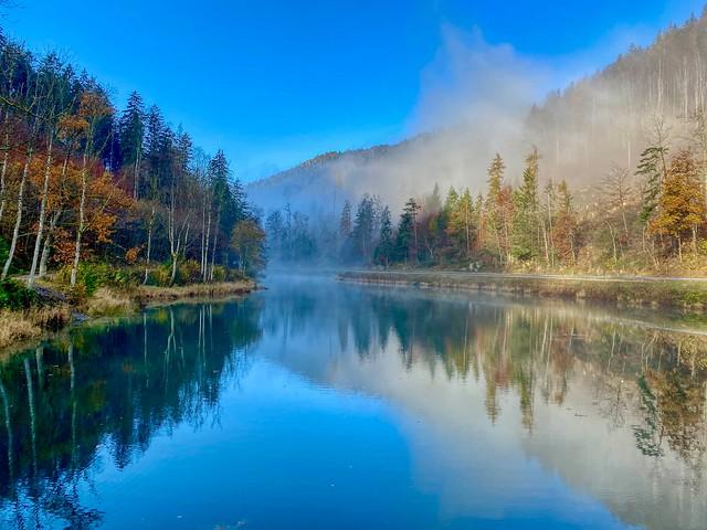 Autumnal mood at Gfall Stausee near Kiefersfelden in Bavaria, Germany